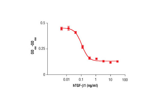 The inhibition of IL-4 induced proliferation in HT-2 cells treated with increasing concentrations of hTGF-β1 was assessed. After 48 hour treatment with hTGF-β1, cells were incubated with a tetrazolium salt and the OD<sub>450 </sub>- OD<sub>650 </sub>was determined.