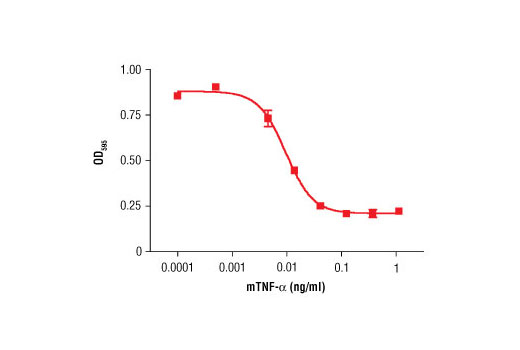The viability of L-929 cells treated with increasing concentrations of mTNF-α in the presence of 2 ng/ml actinomycin D was assessed. Cells were stained with crystal violet at the end of treatment and the OD<sub>595</sub> was determined.