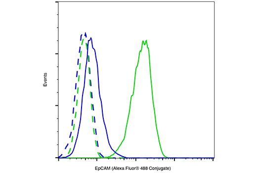 flow cytometric analysis of unpermeabilized hela cells blue and unpermeabilized ht 29 cells green using epcam vu1d9 mouse mab alexa fluor 488