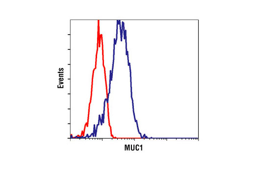 Flow cytometric analysis of MCF-7 cells, using MUC1 (VU4H5) Mouse mAb (blue) compared to a nonspecifc negative control antibody (red).