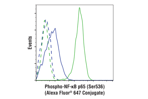 Flow cytometric analysis of HeLa cells, untreated (blue) or treated with hTNF-α #8902 and Calyculin A #9902 (20 ng/ml and 100 nM, 15 min; green), using Phospho-NF-κB p65 (Ser536) (93H1) Rabbit mAb (Alexa Fluor® 647 Conjugate) (solid lines) or concentration-matched Rabbit (DA1E) mAb IgG XP<sup>®</sup> Isotype Control (Alexa Fluor<sup>®</sup> 647 Conjugate) #2985 (dashed lines).