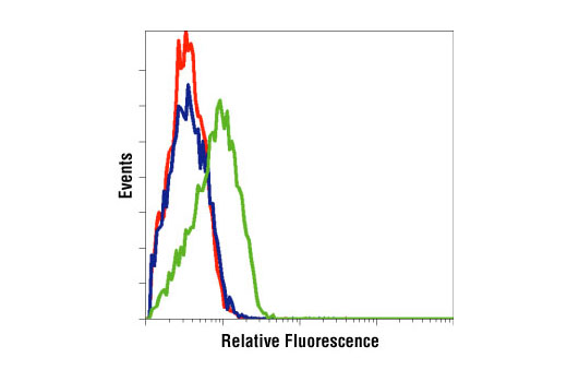 Flow cytometric analysis of LNCaP cells, untreated (green) or LY294002-treated (blue), using Phospho-Akt (Ser473) Antibody compared to a nonspecific negative control antibody (red).