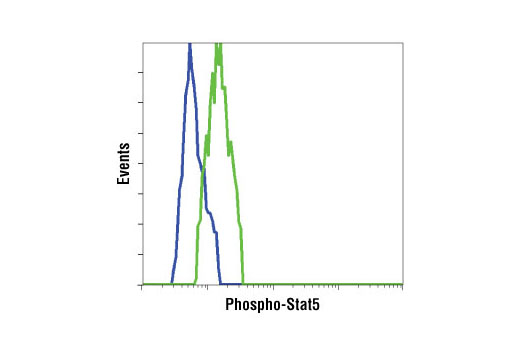 Flow cytometric analysis of K562 cells, untreated (green) or STI571-treated (blue), using Phospho-Stat5 (Tyr694) Antibody.