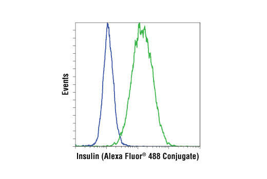 Flow cytometric analysis of HeLa (blue) and β-TC-6 (green) cells using Insulin (C27C9) Rabbit mAb (Alexa Fluor<sup>®</sup> 488 Conjugate).