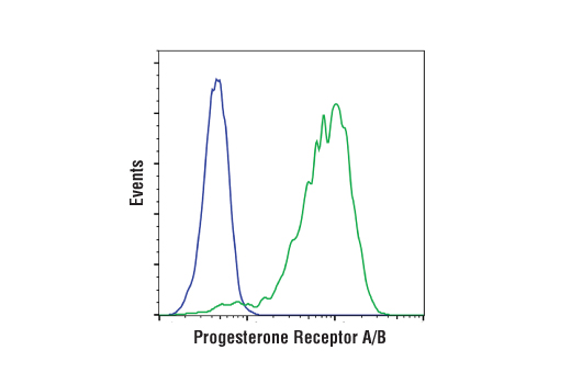 Flow cytometric analysis of MDA MB-231 cells (blue) and T47D cells using Progesterone REceptor A/B (D8Q2J) XP® Rabbit mAb. Anti-rabbit IgG (H+L), F(ab')2 Fragment (ALexa FLuor® 488 Conjugate) #4412 was used as a secondary antibody.