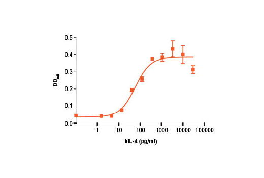 The proliferation of TF-1 cells treated with increasing concentrations of hIL-4 #8919 was assessed. After 72 hr, cells were incubated with a tetrazolium salt and the OD<sub>450</sub> was determined.
