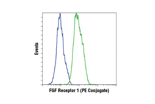 Flow cytometric analysis of HT-29 cells (blue) and A-204 cells (green) using FGF Receptor 1 (D8E4) XP<sup>®</sup> Rabbit mAb (PE Conjugate).