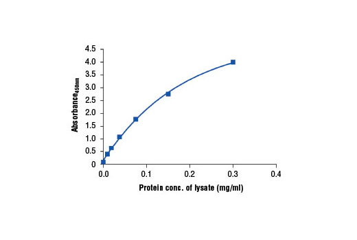Figure 2. The relationship between protein concentration of lysates from LNCaP cells and the absorbance at 450 nm is shown. LNCaP cells (85% confluence) were harvested and then lysed.
