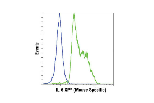 Flow cytometric analysis of Raw 264.7 cells, untreated (blue) or treated with LPS (100 ng/ml, 6 hr) (green) using IL-6 (D5W4V) XP® Rabbit mAb (Mouse Specific). All cells were incubated with Brefeldin A #9972 (300 ng/ml, last 3 hr of treatment). Anti-rabbit IgG (H+L), F(ab')2 Fragment (Alexa Fluor® 647 Conjugate) #4414 was used as a secondary antibody.