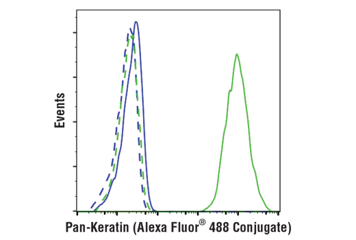 Flow cytometric analysis of Jurkat (blue) and MCF7 (green) cells using Pan-Keratin (C11) Mouse mAb (Alexa Fluor® 488 Conjugate) (solid line) compared to concentration-matched Mouse (MOPC-21) mAb IgG1 Isotype Control (Alexa Fluor® 488 Conjugate) #4878 (dashed line).
