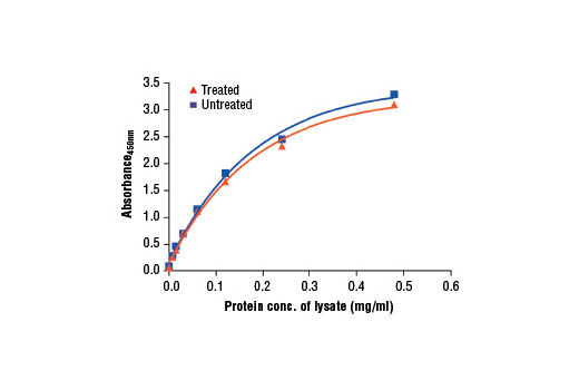 Figure 2: The relationship between protein concentration of lysates from untreated and hM-CSF-treated NKM-1 cells and the absorbance at 450 nm as detected by the PathScan<sup>®</sup> Total M-CSF Receptor Sandwich ELISA Kit is shown. Unstarved NKM-1 cells (0.5-1.0 x 10<sup>6</sup>) were treated with Human Macrophage Colony Stimulating Factor (hM-CSF) #8929 (50 ng/ml) for 2-5 min at 37°C and then lysed.