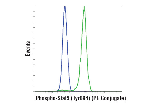 Flow cytometric analysis of TF-1 cells, untreated (blue) or treated with Human Granulocyte Macrophage Colony Stimulating Factor (hGM-CSF) #8922 (green), using Phospho-Stat5 (Tyr694) (D47E7) XP<sup>®</sup> Rabbit mAb (PE Conjugate).