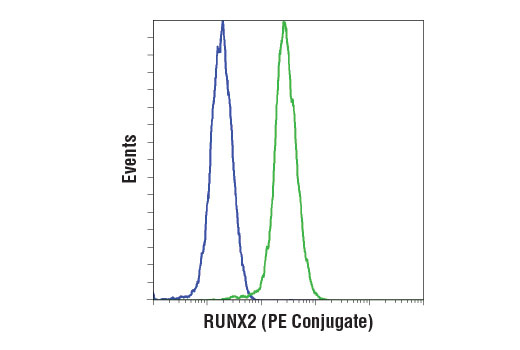 Flow cytometric analysis of LNCaP (blue) and Saos-2 (green) cells using RUNX2 (D1L7F) Rabbit mAb (PE Conjugate).