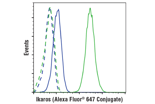 Flow cytometric analysis of Hela cells (blue) and Ramos cells (green) using Ikaros (D6N9Y) Rabbit mAb (Alexa Fluor® 647 Conjugate) (solid lines) or a concentration-matched Rabbit (DA1E) mAb IgG XP<sup>®</sup> Isotype Control (Alexa Fluor<sup>®</sup> 647 Conjugate) #2985 (dashed lines).