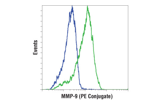 Flow cytometric analysis of serum starved U-2 OS cells, untreated (blue) or treated with TPA (200 nM, 24 hr; green) using MMP-9 (D6O3H) XP<sup>®</sup> Rabbit mAb (PE Conjugate).