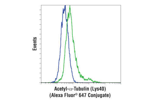 Flow cytometric analysis of HeLa cells untreated (blue) or treated with Trichostatin A (TSA) #9950 (green), using</p><p>Acetyl-α-Tubulin (Lys40) (D20G3) XP<sup>®</sup> Rabbit mAb (Alexa Fluor<sup>®</sup> 647 Conjugate).