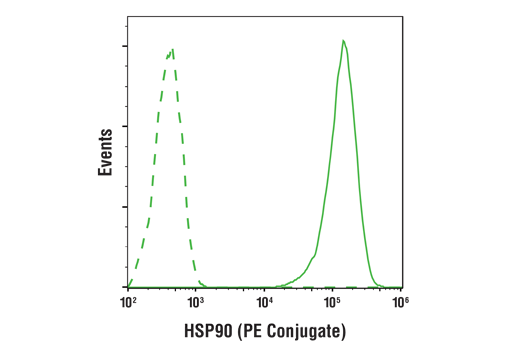 Flow cytometric analysis of Hela cells using HSP90 (C45G5) Rabbit mAb (PE Conjugate) (solid line) compared to concentration-matched Rabbit (DA1E) mAb IgG XP<sup>®</sup> Isotype Control (PE Conjugate) #5742 (dashed line).