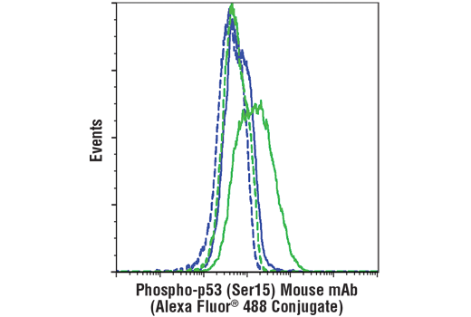 Flow cytometric analysis of DLD-1 cells, untreated (blue) or UV-treated (100 mJ/cm2, 2 hr recovery; green) using Phospho-p53 (Ser15) (16G8) Mouse mAb (Alexa Fluor® 488 Conjugate) (solid lines) or concentration-matched Mouse (MOPC-21) mAb IgG1 Isotype Control (Alexa Fluor<sup>®</sup> 488 Conjugate) #4878 (dashed lines).