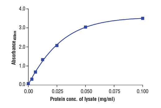 Figure 2: The relationship between protein concentration of lysates from extracts of mouse brain and the absorbance at 450 nm as detected by PathScan<sup>®</sup> Total α-Synuclein Sandwich ELISA Kit is shown. Mouse brains were frozen, ground, and then lysed with lysis buffer #9803.