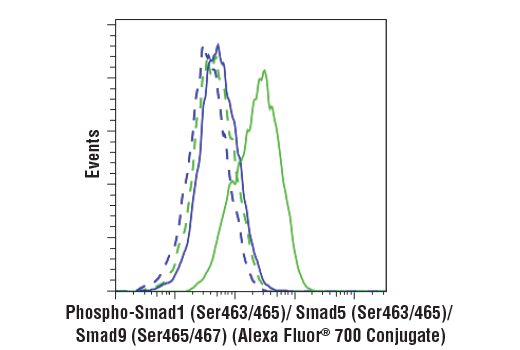 Flow cytometric analysis of HT-1080 cells, untreated (blue) or treated with Human BMP2 #4697 (50 ng/ml, 30 min; green), using Phospho-Smad1 (Ser463/465)/ Smad5 (Ser463/465)/ Smad9 (Ser465/467) (D5B10) Rabbit mAb (Alexa Fluor<sup>®</sup> 700 Conjugate) (solid lines) or concentration-matched Rabbit (DA1E) mAb IgG XP<sup>®</sup> Isotype Control (Alexa Fluor<sup>®</sup> 700 Conjugate) #30720 (dashed lines).