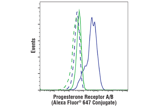 Flow cytometric analysis of MDA-MB-231 cells (blue) or T-47D cells (green), using Progesterone Receptor A/B (D8Q2J) XP<sup>®</sup> Rabbit mAb (Alexa Fluor<sup>®</sup> 647 Conjugate) (solid lines) or concentration-matched Rabbit (DA1E) mAb IgG XP<sup>®</sup> Isotype Control (Alexa Fluor<sup>®</sup> 647 Conjugate) #2985 (dashed lines).