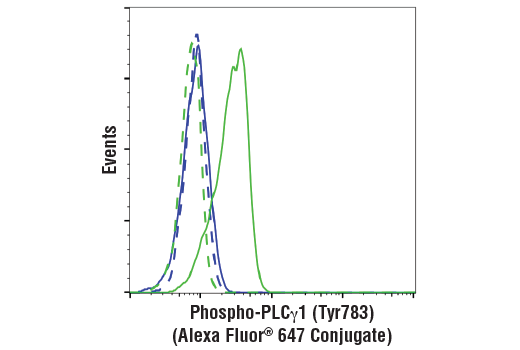 Flow cytometric analysis of serum-starved NIH/3T3 cells, untreated (blue) or treated with mouse platelet-derived growth factor BB (200 ng/ml, 15 min; green), using Phospho-PLCγ1 (Tyr783) (D6M9S) Rabbit mAb (Alexa Fluor<sup>®</sup> 647 Conjugate) (solid lines) or concentration-matched Rabbit (DA1E) mAb IgG XP<sup>®</sup> Isotype Control (Alexa Fluor<sup>®</sup> 647 Conjugate) #2985 (dashed lines).