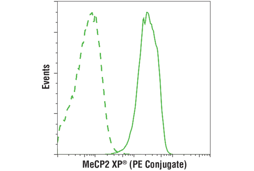 Flow cytometric analysis of SH-SY5Y cells using using MeCP2 (D4F3) XP<sup>®</sup> Rabbit mAb (PE Conjugate) (solid line) or concentration-matched Rabbit (DA1E) mAb IgG XP<sup>®</sup> Isotype Control (PE Conjugate) #5742 (dashed line).