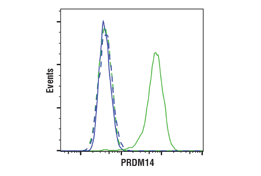Flow cytometric analysis of NCCIT cells (green) and 293T cells (blue) using PRDM14 (E1D5S) XP<sup>®</sup> Rabbit mAb (solid lines) or a concentration-matched Rabbit (DA1E) mAb IgG XP<sup>®</sup> Isotype Control #3900 (dashed lines). Anti-rabbit IgG (H+L), F(ab')<sub>2</sub> Fragment (Alexa Fluor<sup>®</sup> 488 Conjugate) #4412 was used as a secondary antibody.