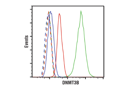 Flow cytometric analysis of NCCIT cells (green), HCT116 WT cells (red), or HCT116 DNMT3B KO cells (blue), using DNMT3A (E2Q3Z) Rabbit mAb (solid lines) or concentration-matched Rabbit (DA1E) mAb IgG XP<sup>® </sup>Isotype Control #3900 (dashed lines).</p><p>Anti-rabbit IgG (H+L), F(ab')<sub>2</sub> Fragment (Alexa Fluor<sup>®</sup> 488 Conjugate) #4412 was used as a secondary antibody.