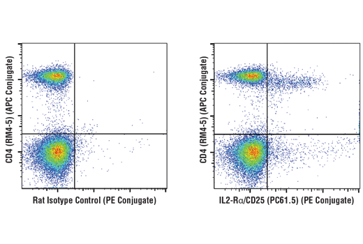 Flow cytometric analysis of live mouse splenocytes using IL2-Rα/CD25 (PC61.5) Rat mAb (PE Conjugate) and co-stained with CD4 (RM4-5) Rat mAb (APC Conjugate) #82116 (right), compared to concentration-matched Rat Isotype Control (PE Conjugate) (left).