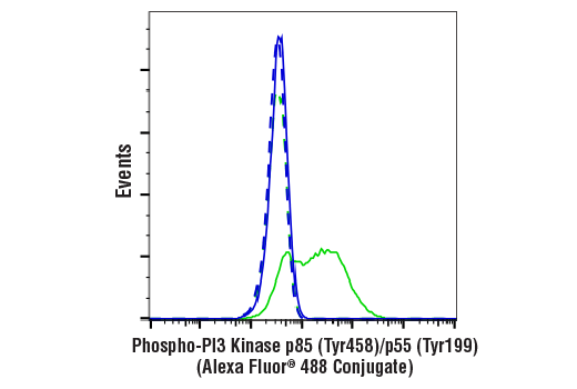 Flow Cytometry Image 1: Phospho-PI3 Kinase p85 (Tyr458)/p55 (Tyr199) (E3U1H) Rabbit mAb (Alexa Fluor® 488 Conjugate)