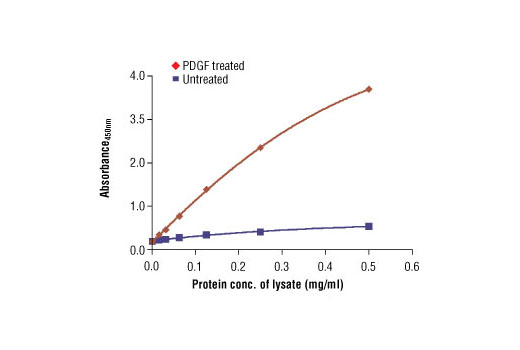 The relationship between the protein concentration of the lysate from untreated and PDGF-treated NIH/3T3 cells and the absorbance at 450 nm using PathScan<sup>®</sup> Phospho-p44/42 MAPK (Thr202/Tyr204) Sandwich ELISA Antibody Pair #7246 is shown. NIH/3T3 cells were treated with PDGF (100 ng/mL) for 5 minutes at 37ºC and then lysed.