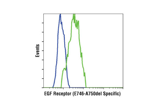 Flow cytometric analysis of Kyse450 cells (wildtype, blue) and HCC827 cells (exon 19 deletion (E746-A750del, green) using EGF Receptor (E746-A750del Specific) (D6B6) XP<sup>®</sup> Rabbit mAb.