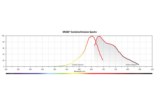 Absorption and fluorescence emission spectra of DRAQ5® in aqueous solution.